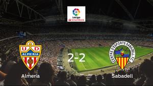 El Almería y el Sabadell empatan 2-2 y se reparten los puntos