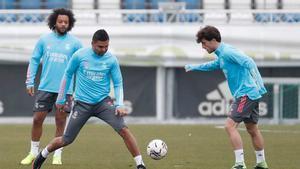 Marcelo, Casemiro y Odriozola, en el entrenamiento