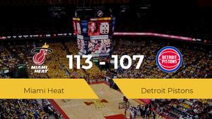 Miami Heat se queda con la victoria frente a Detroit Pistons por 113-107