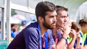 Pere Romeu en un partido de fútbol formativo del Barça