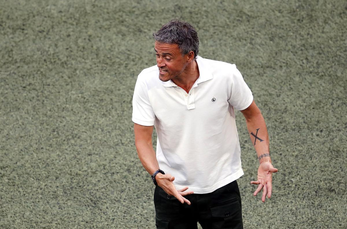 Luis Enrique, durante el Suiza-España de la Eurocopa 2020