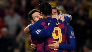 Messi, Suárez y Griezmann: la MSG celebra el triunfo ante el Dortmund