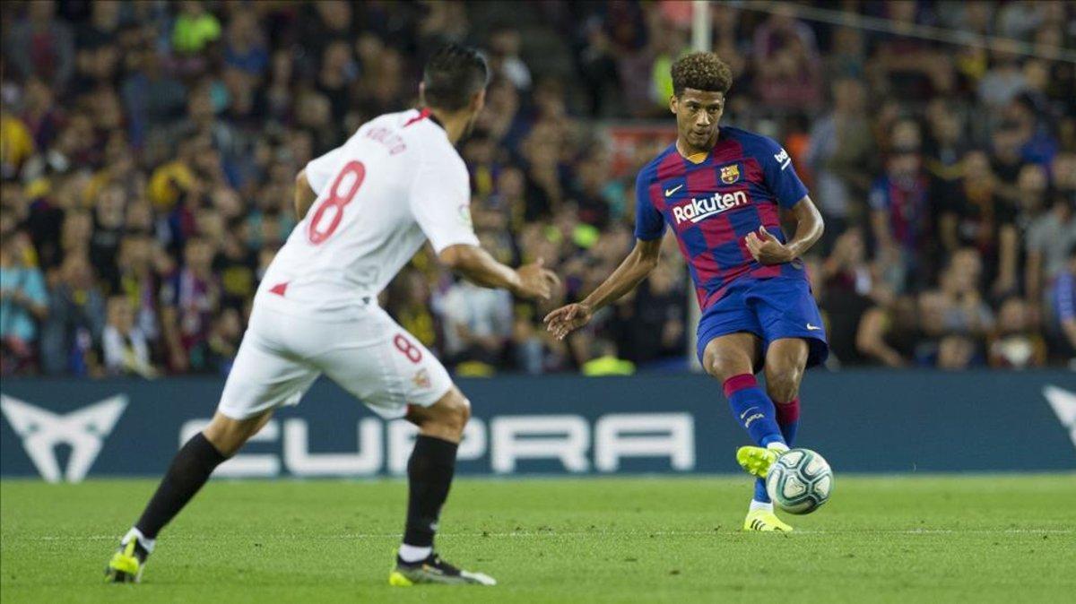 Jean Clair Todibo no pudo acabar su primer partido en el Camp Nou