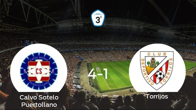 El Calvo Sotelo Puertollanose hace con los tres puntos tras golear al Torrijos en casa (4-1)