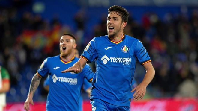 Jaime Mata celebrando un gol con el Getafe en LaLiga