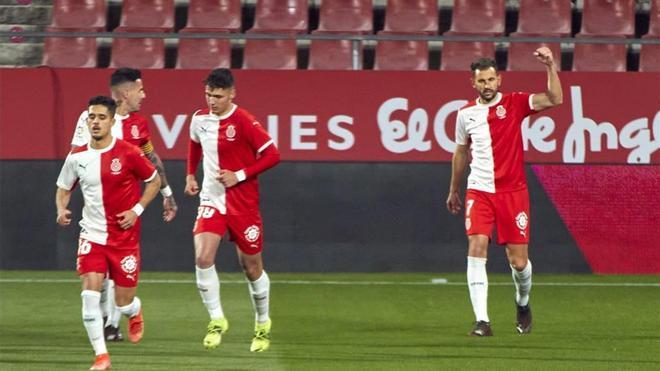 Los jugadores del Girona celebran un gol esta temporada.