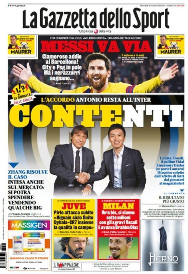 La portada de la Gazzetta dello SPORT del 26 de agosto