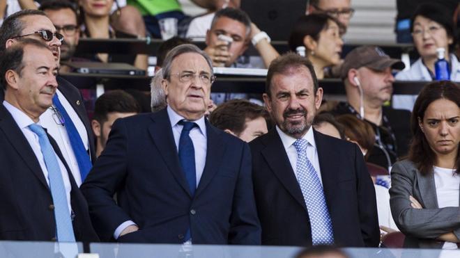 Florentino Pérez, presidente del Real Madrid, y Ángel Torres, presidente del Getafe