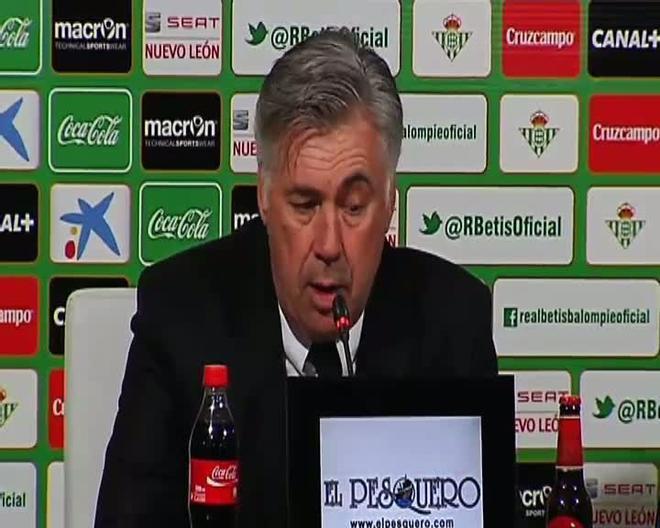 Ancelotti, feliz por el triunfo del Madrid en campo del Betis