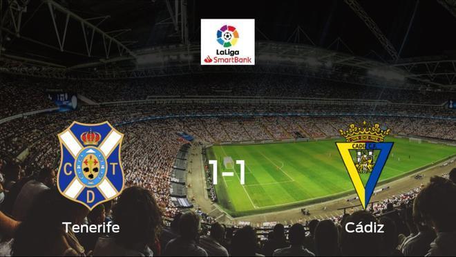 El Tenerifey el Cádizse reparten los puntos en el Heliodoro Rodríguez López (1-1)