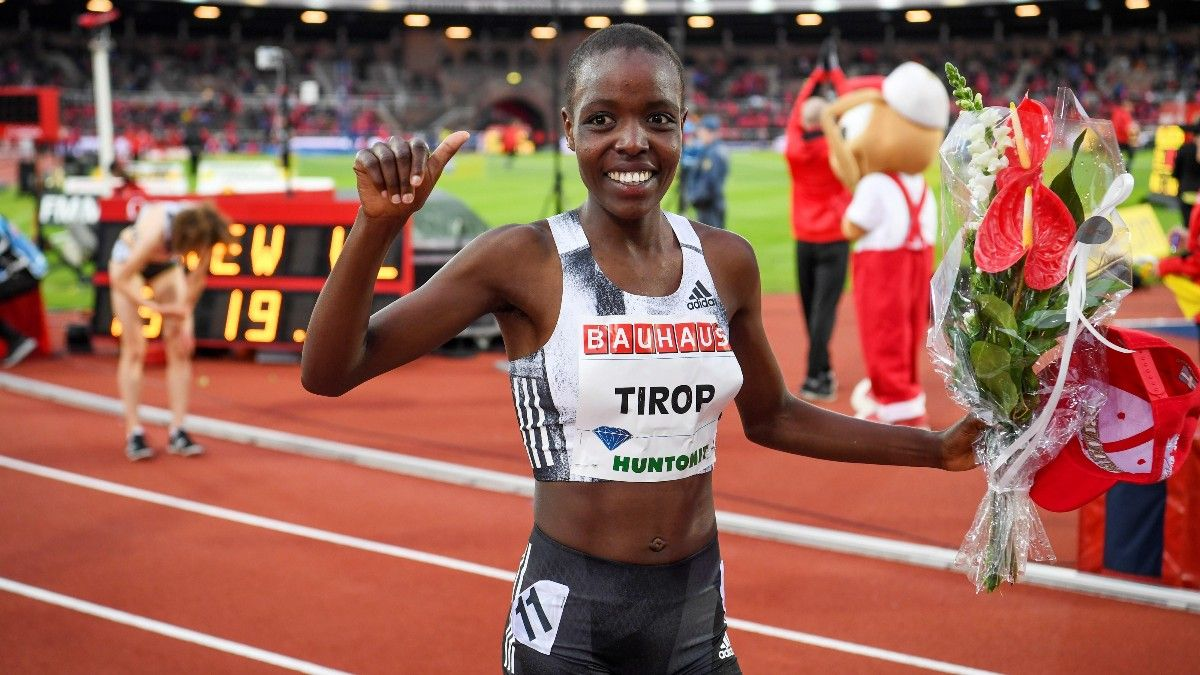 Agnes Tirop, en una prueba en Estocolmo