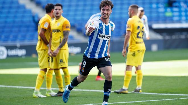 Puado, celebrando su gol ante el Málaga