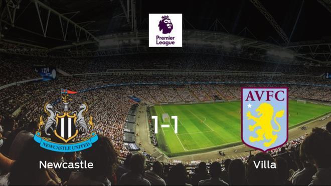 El Newcastle United y el Aston Villa empatan a uno en el St. James Park