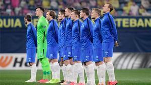 Los jugadores del Molde, momentos antes del inicio del partido ante el Hoffenheim.