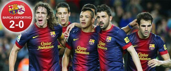 El Barça sumó tres puntos para mantenerse fuerte en la Liga ante un Depor de perfil bajo y sin realizar un gran partido