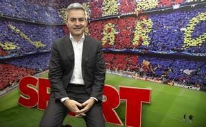 Víctor Font, candidato a la presidencia del FC Barcelona, visitó la redacción de Sport.