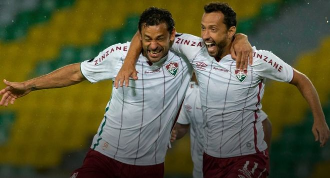 Fred celebra un gol con el Fluminense.