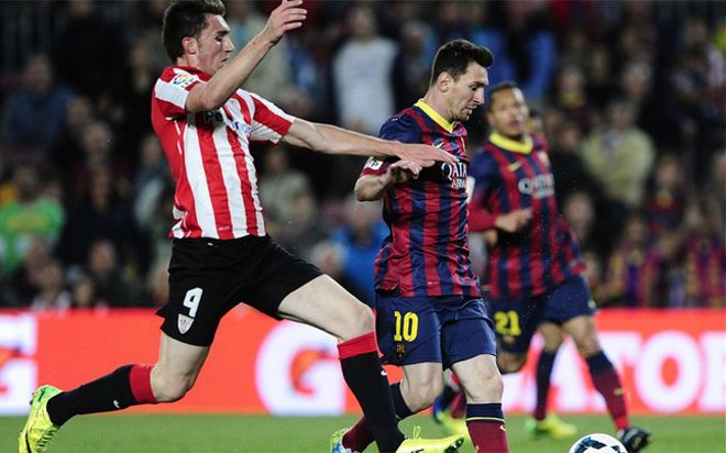 Laporte, en el Barça-Athletic de la Liga 2013-14