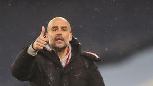 Guardiola, en un lance del encuentro contra el Aston Villa