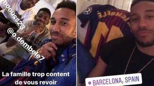 Aubameyang estuvo en Barcelona junto a Dembélé