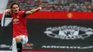 Cavani celebra el gol al Villarreal en la final de la Europa League