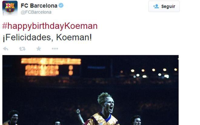 El FC Barcelona ha felicitado a Ronaldo Koeman por su 52 cumpleaños
