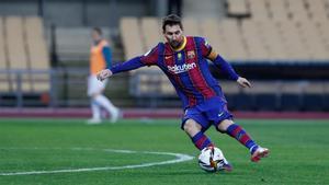 Messi, en una acción del partido