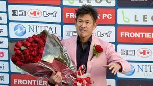 Miura, durante la celebración de su 50 cumpleaños