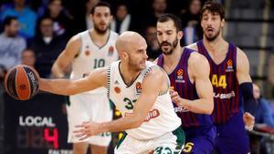 Nick Calathes, contra el Barça en el Palau