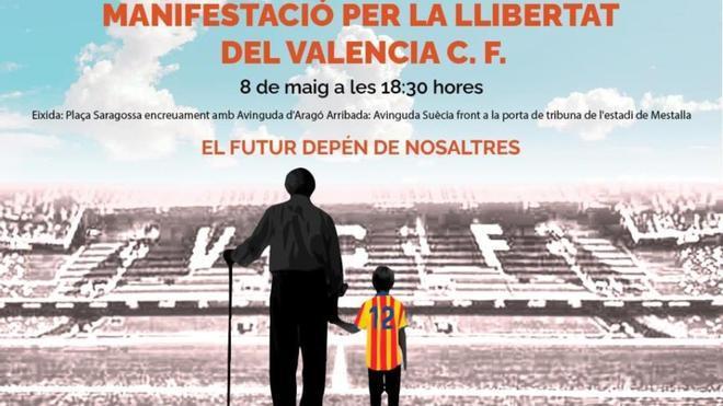 Cartel de la convocatoria Manifestació per la llibertat del Valencia CF