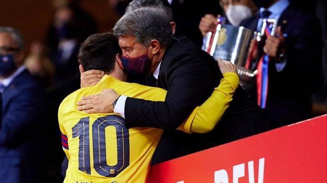 Messi y Laporta, tras ganar la Copa del Rey