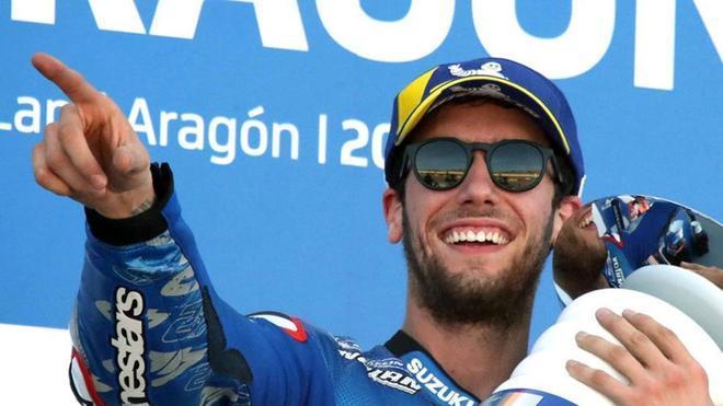 Rins, en el podio del GP de Aragón
