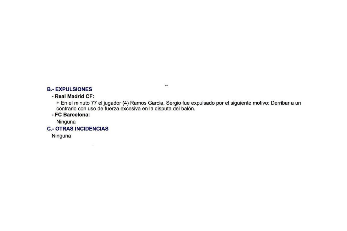 Este es el redactado del acta por lo que a la expulsión de Sergio Ramos se refiere