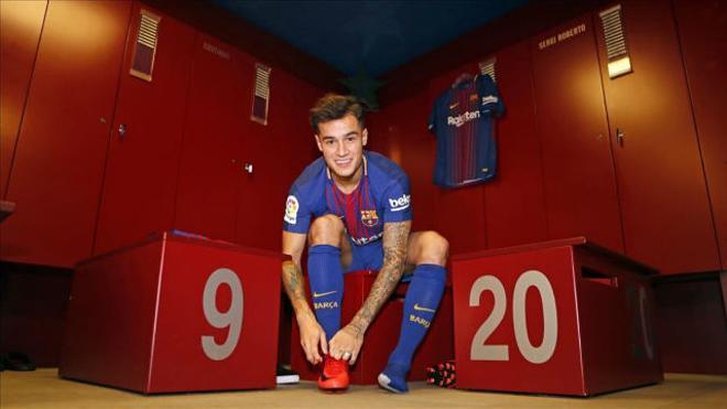 Coutinho pisó por primera vez el césped del Camp Nou