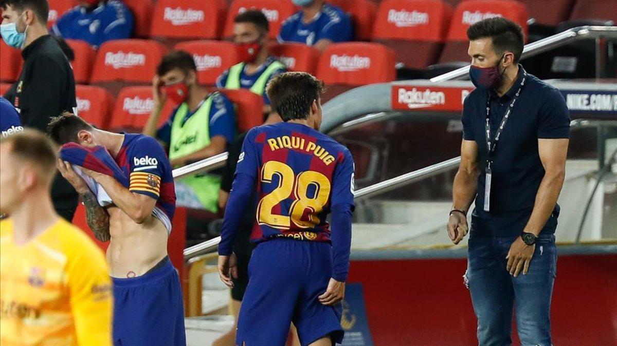 Eder Sarabia, durante un partido del Barça