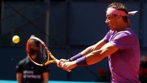 Rafa Nadal durante un partido en el Masters 1.000 de Madrid