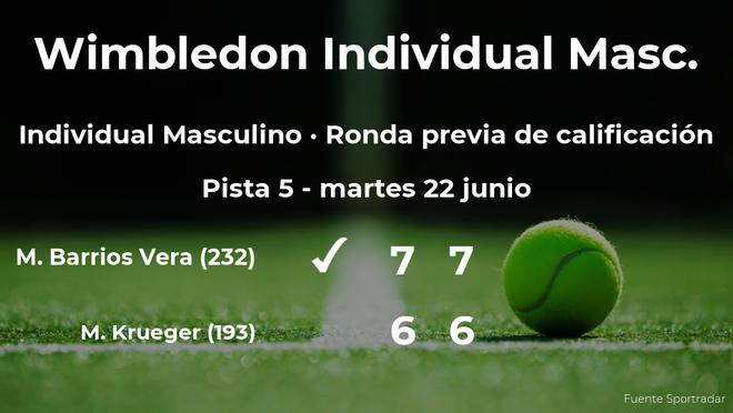 Marcelo Tomás Barrios Vera gana en la ronda previa de calificación de Wimbledon