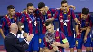 El Barça ganó su tercera Champions en octubre en el Palau