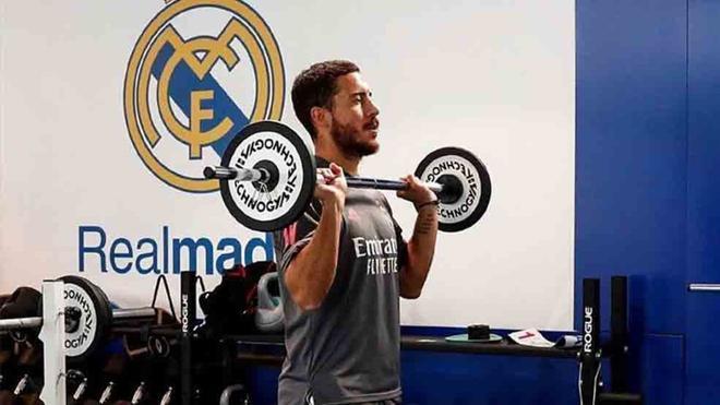 Hazard, en el gimnasio de la Ciudad Deportiva del Real Madrid