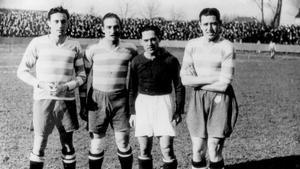 Josep Raich, Josep Escolà, Mario Cabanes y Domènec Balmanya la tarde del 27 de febrero de 1938, momentos antes del Metz-Sète del campeonato francés. Cuatro fenómenos del Barça lejos de Les Corts...