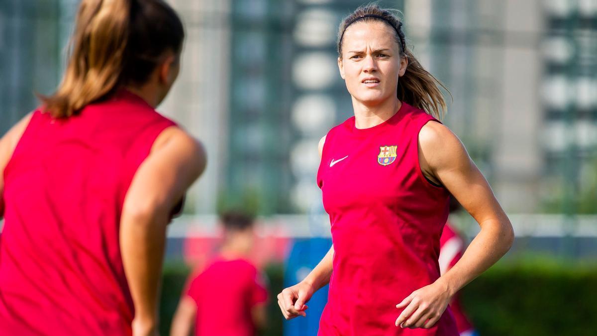 Irene Paredes, en un entrenamiento con el Barça