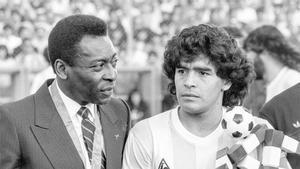 Pelé y Maradona, juntos en una foto de 1987