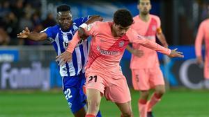 Carles Aleñá ganó la partida a Wakaso en el Alavés - FC Barcelona