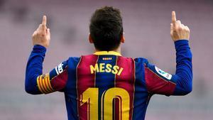 Leo Messi celebra su último gol contra el Celta el pasado 26 de mayo en el Camp Nou