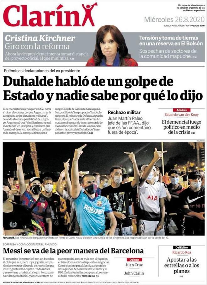 La portada del diario Clarín del 26 de agosto