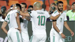 La selección de Argelia celebra un gol en la pasada Copa África de Naciones.