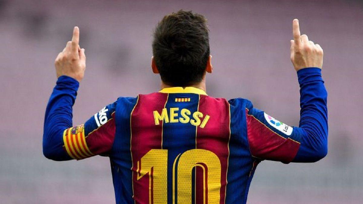 Leo Messi celebra un gol con el Barça