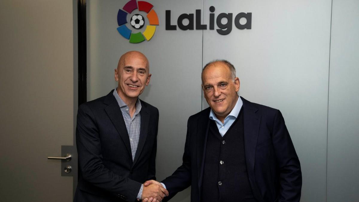 Mario Hernando, Director General de World Padel Tour, junto a Javier Tebas, Presidente de LaLiga