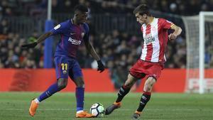 Dembélé jugó una buena segunda parte ante el Girona