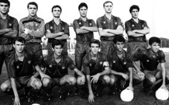 Toni García en una alineación de su época en el Barça